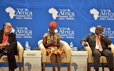A wide shot of me and 5 panelists at the Youth Connekt session at Transform Africa 2017